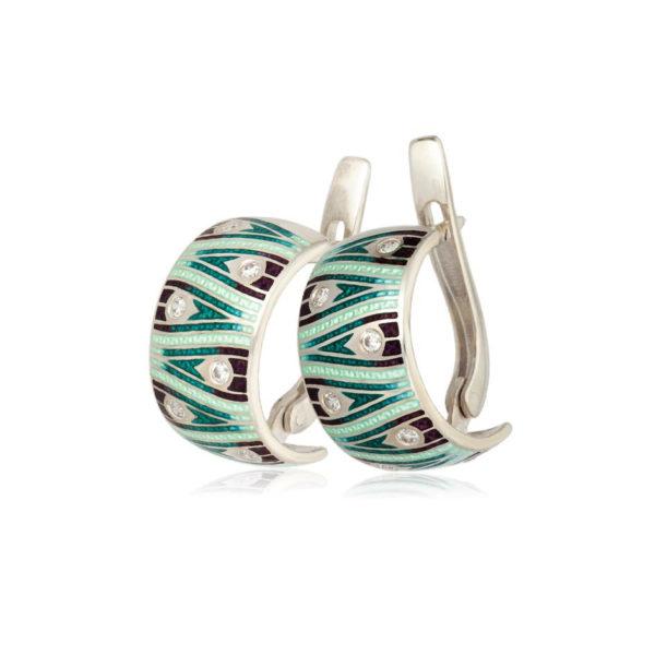 3 93 1s 5 600x600 - Серьги-полукольца «Модерн. Перо павлина» (золочение), зеленые