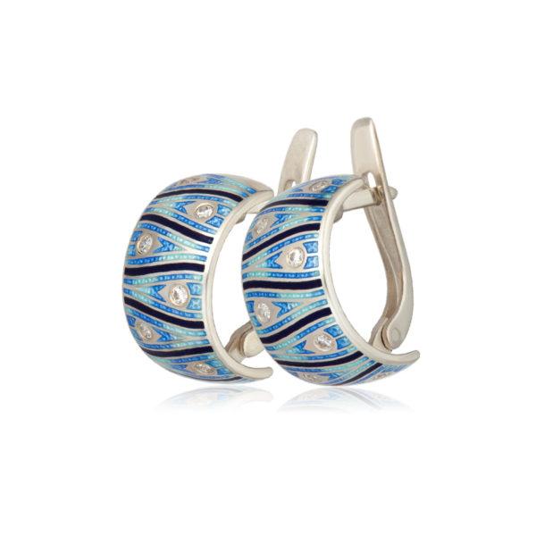 3 93 4s 3 2 600x600 - Серьги-полукольца «Модерн. Перо павлина», синие