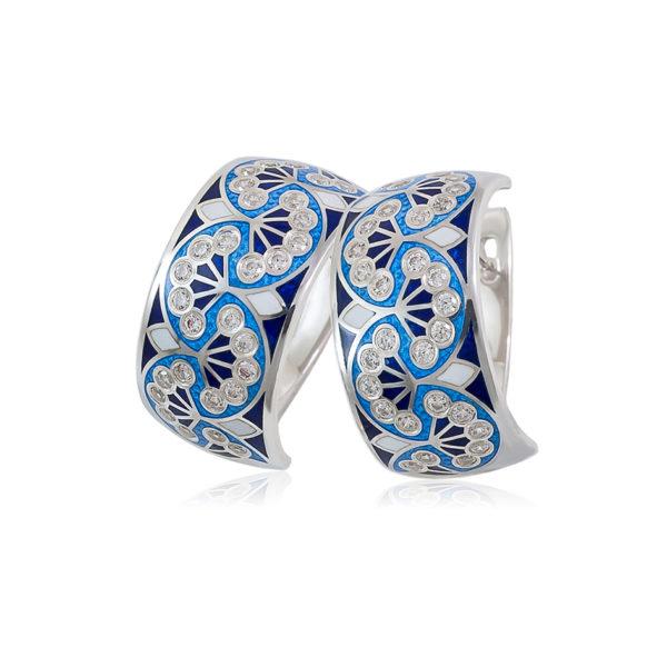 3 99 1s 2 1 600x600 - Серьги-полукольца из серебра «Сады Семирамиды», синие