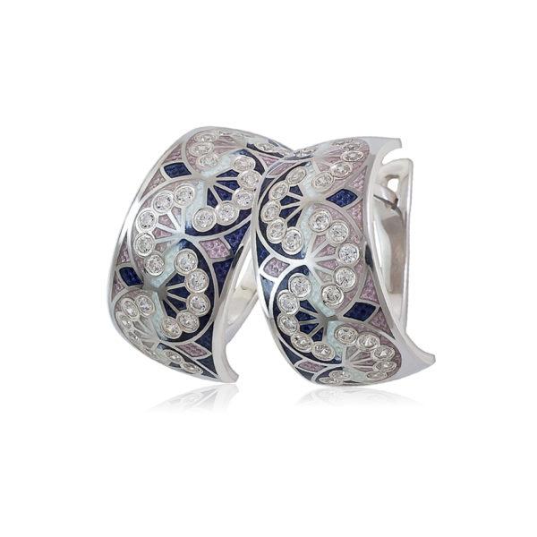 3 99 2s 1 600x600 - Серьги-полукольца из серебра «Сады Семирамиды», розовые