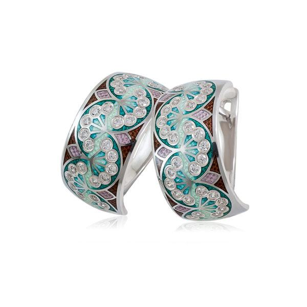 3 99 3s 1 600x600 - Серьги-полукольца из серебра «Сады Семирамиды», зеленые