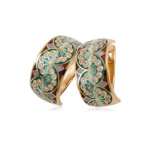 3 99 3z 1 300x300 - Серьги-подвески серебряные «Ирисы» (золочение), зеленые
