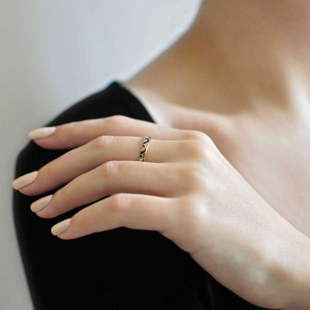 Кольцо «Седмица», (золочение, фиолетовая)