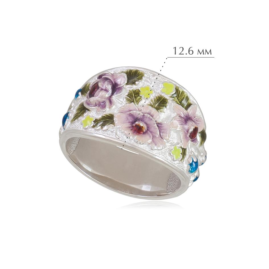 6.23e 2 - Кольцо из серебра «Жостово» (эмаль), белое