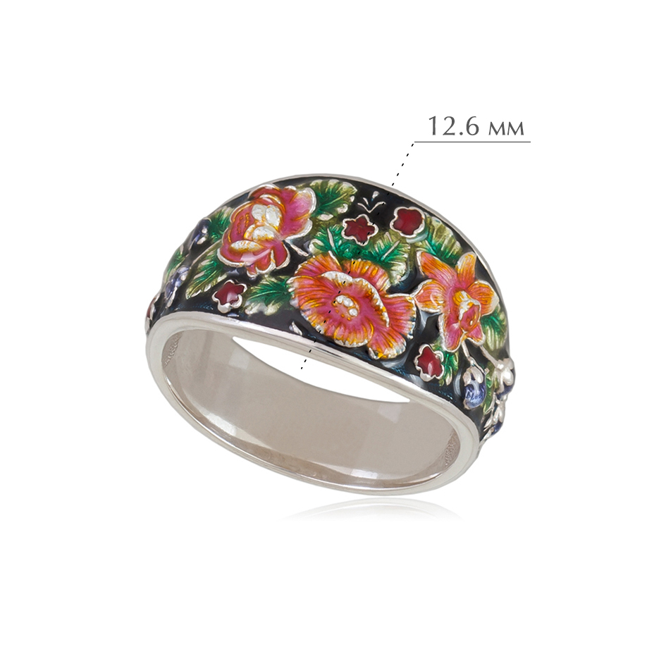 6.23e chernoe 2 - Кольцо из серебра «Жостово» (эмаль), черное