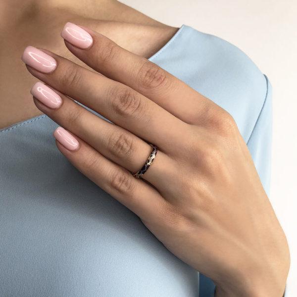 6.37 fioletovaya 1 600x600 - Кольцо из серебра «Седмица» (золочение), фиолетовое