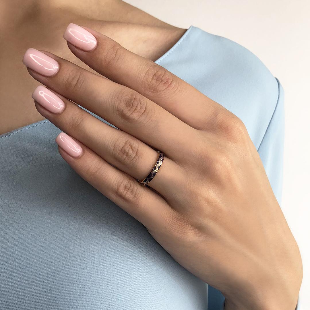 6.37 fioletovaya 1 - Кольцо из серебра «Седмица» (золочение), фиолетовое