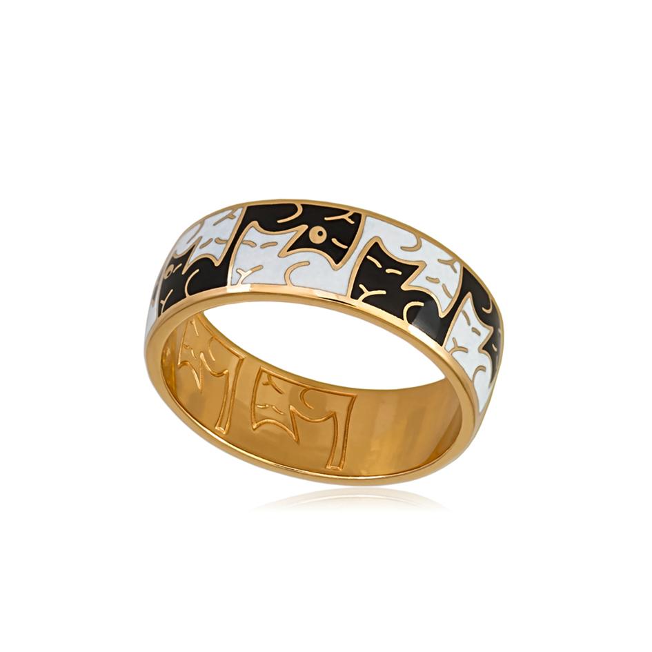 6.59z 2sh 3 - Кольцо из серебра «Котики Инь-Ян» (золочение), черно-белое