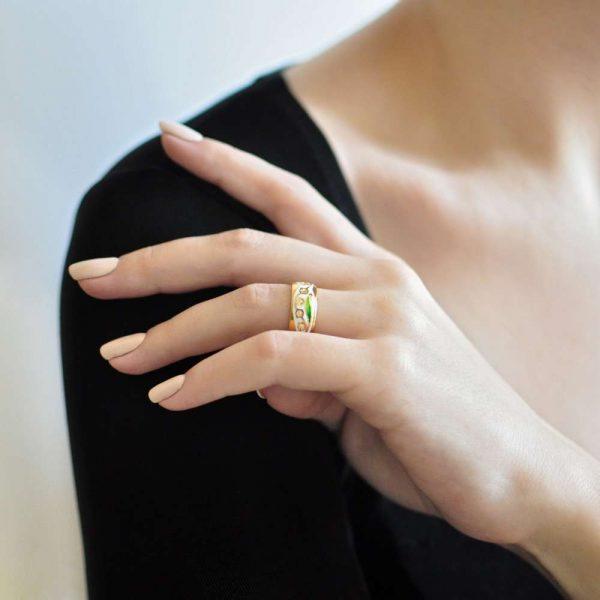 Кольцо «Ландыши» (золочение), белая
