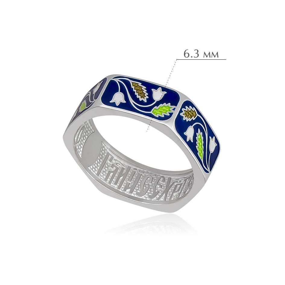 61.124 1 - Кольцо из серебра «Спас-на-крови», синяя