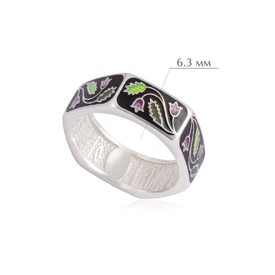 61.124 2 - Кольцо из серебра «Спас-на-крови», черное