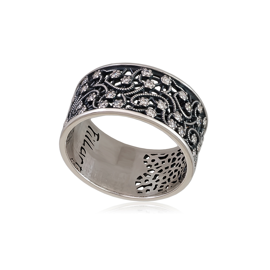 61 105 kruzhevo 1 - Кольцо из серебра «Кружевница» с фианитами