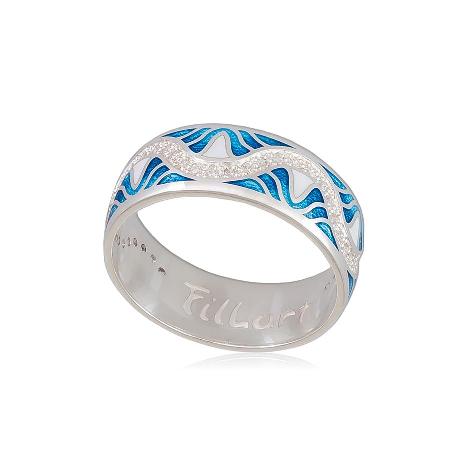 61 109 1s 1 - Кольцо из серебра «Афродита», голубое с фианитами