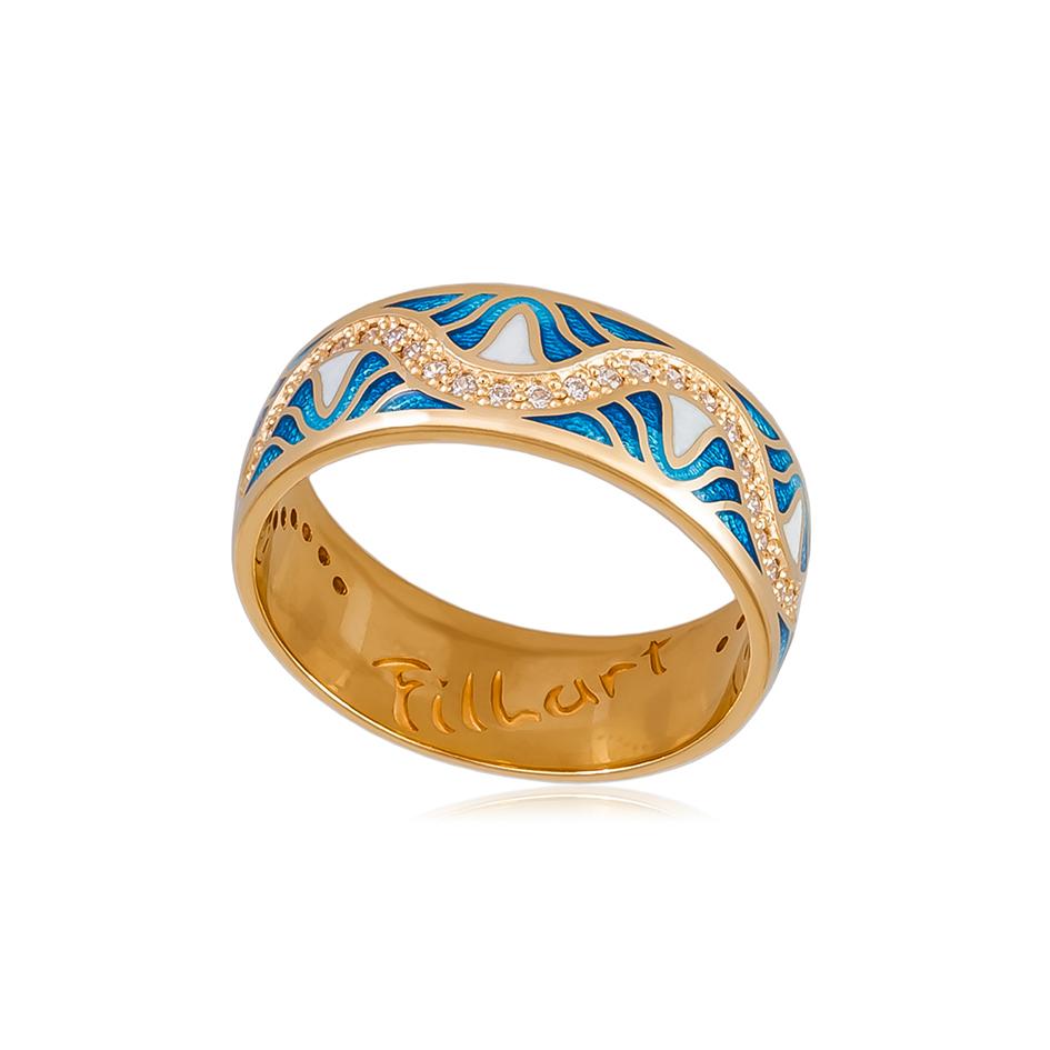 61 109 1z 1 - Кольцо «Афродита» (золочение), голубое с фианитами