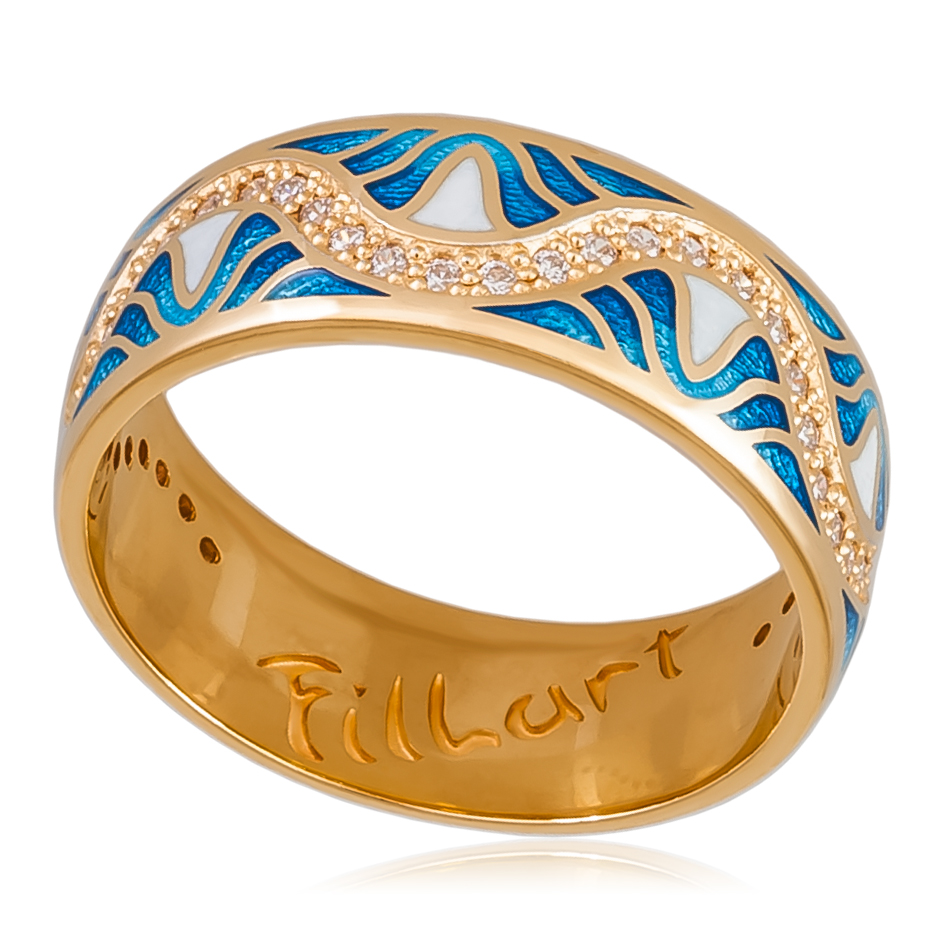 Кольцо «Афродита» (золочение), голубая
