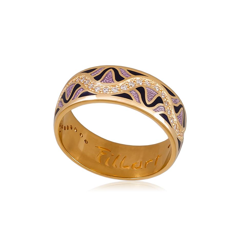 61 109 3z 1 - Кольцо «Афродита» (золочение), фиолетовое с фианитами