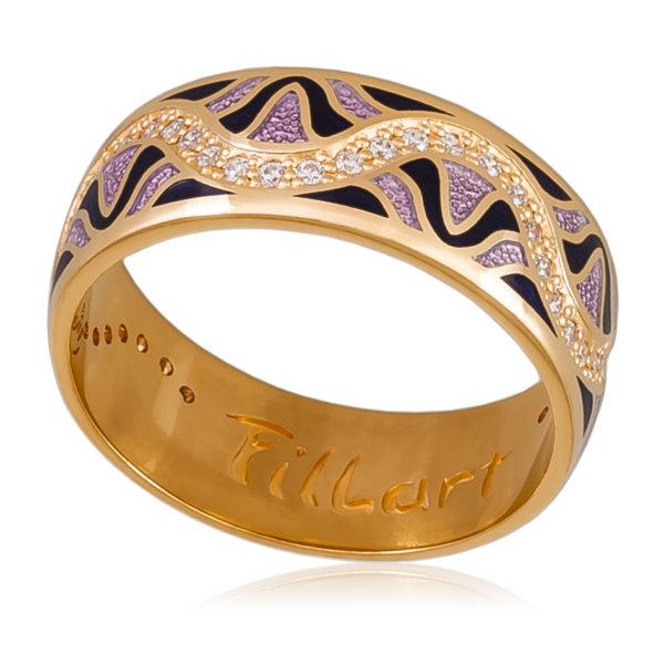 Кольцо «Афродита» (золочение), фиолетовая
