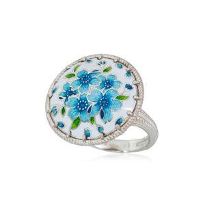 61 111 1s 1 300x300 - Перстень из серебра «Букет», голубая