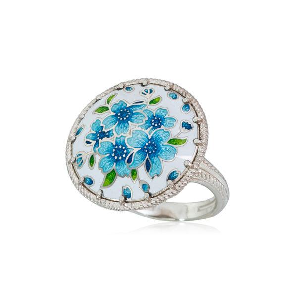 61 111 1s 1 600x600 - Перстень из серебра «Букет», голубая