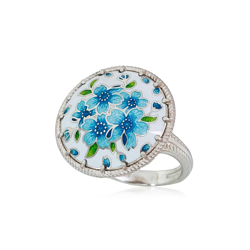 61 111 1s 1 - Перстень из серебра «Букет», голубая