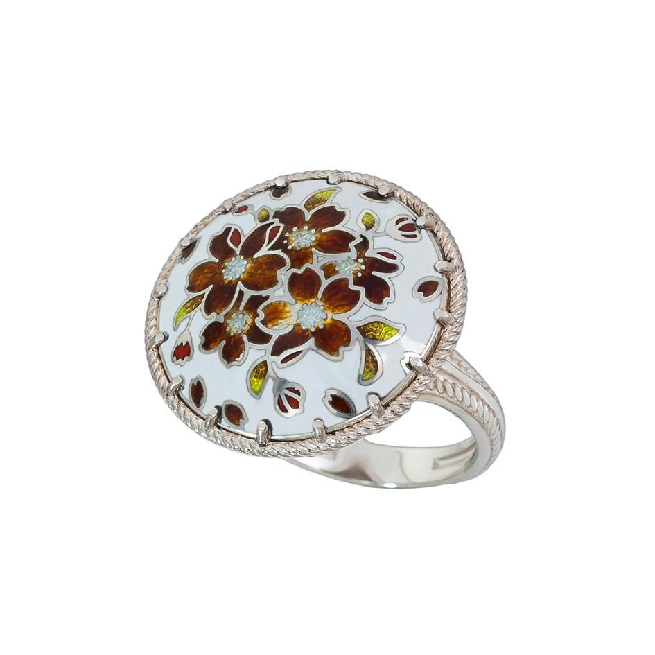 61 111 2s 1 - Перстень из серебра «Букет», терракотовый