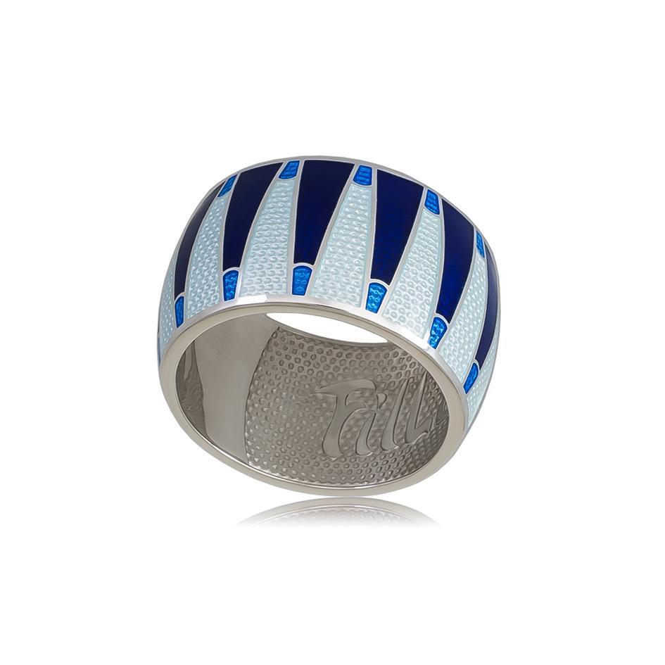 61 117 2s 1 - Кольцо из серебра «Тамтам», синяя