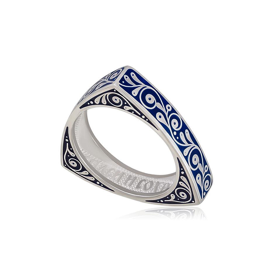 61 121 1s 1 - Кольцо из серебра треугольное «Спас-на-крови», синяя