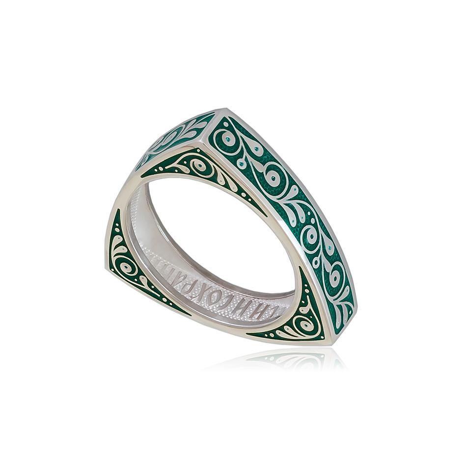 61 121 2s 1 1 - Кольцо из серебра треугольное «Спас-на-крови», зеленая