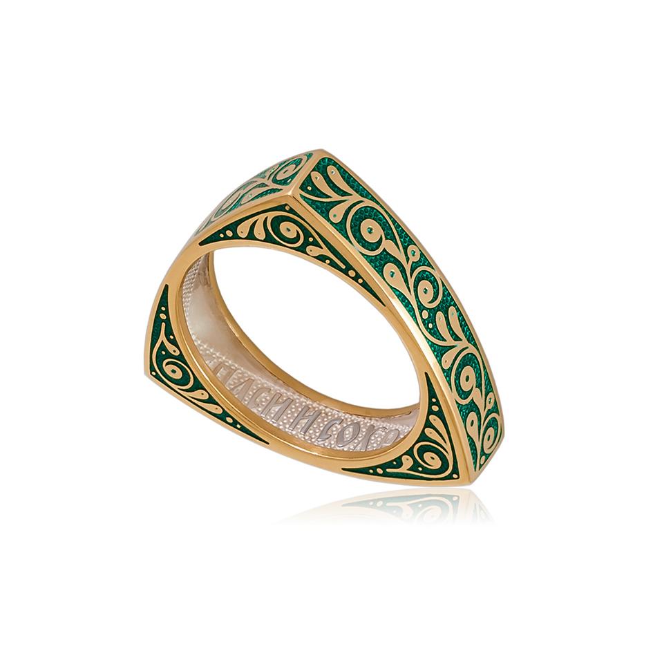 61 121 2z 1 1 - Кольцо из серебра треугольное «Спас на крови» (золочение), зеленое