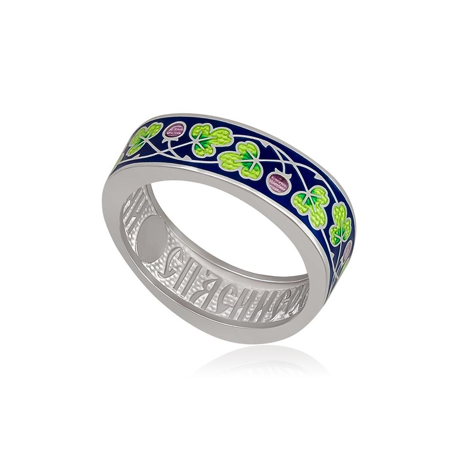 61 123 2s 1 1 - Кольцо серебряное «Спас-на-крови», зеленая