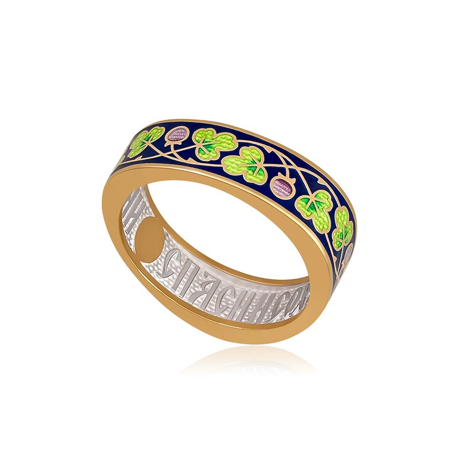 61 123 2z 1 1 - Кольцо серебряное «Спас-на-крови» (золочение), зеленая