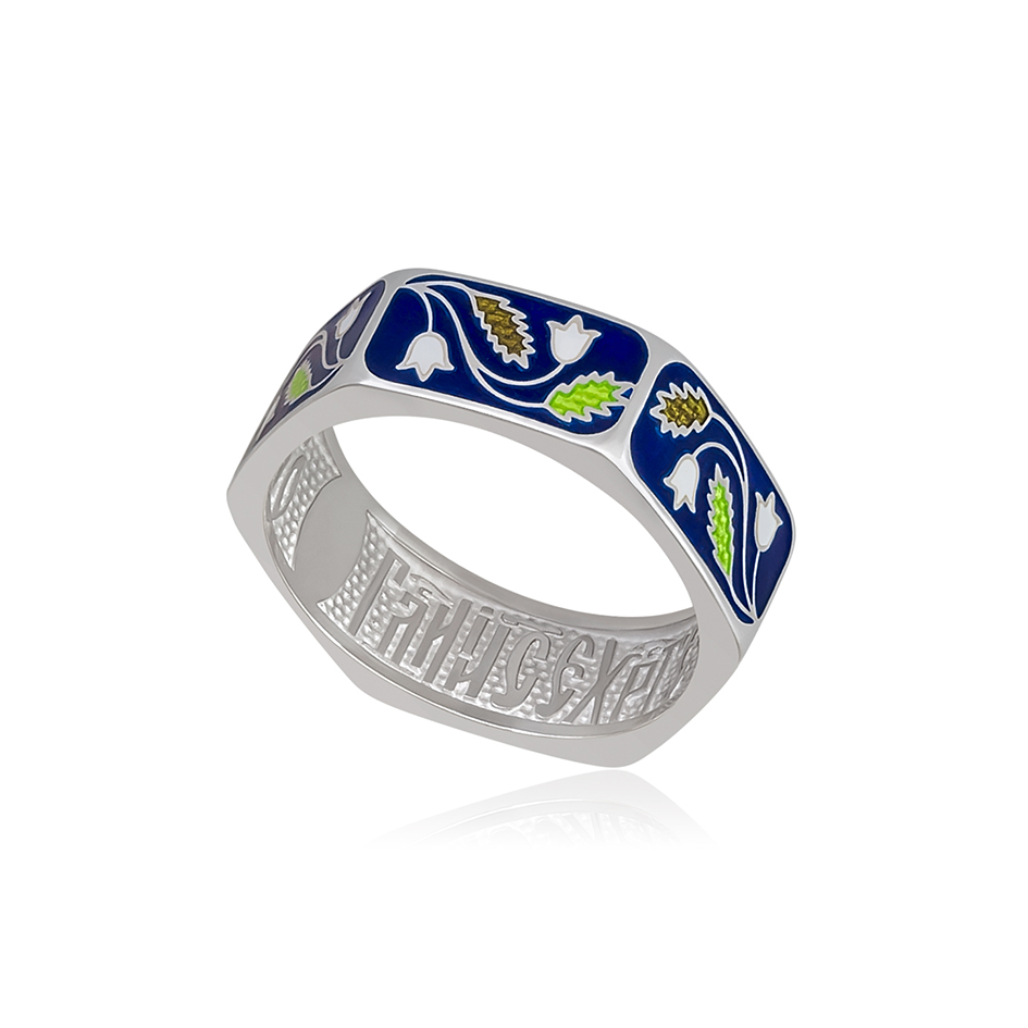61 124 2s 1 - Кольцо серебряное «Спас-на-крови», синяя