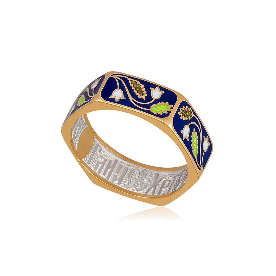 61 124 2z 1 1 - Кольцо из серебра «Спас-на-крови» (золочение), синяя