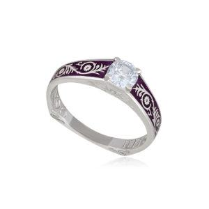 61 125 1s 1 300x300 - Перстень серебряный «Спас на крови», фиолетовый с фианитами
