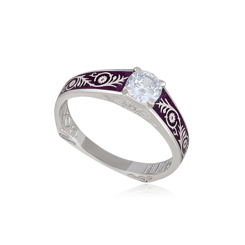 61 125 1s 1 - Перстень серебряный «Спас на крови», фиолетовый с фианитами