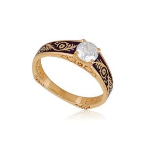 61 125 1z 1 300x300 - Перстень серебряный «Спас-на-крови» (золочение), фиолетовый с фианитами