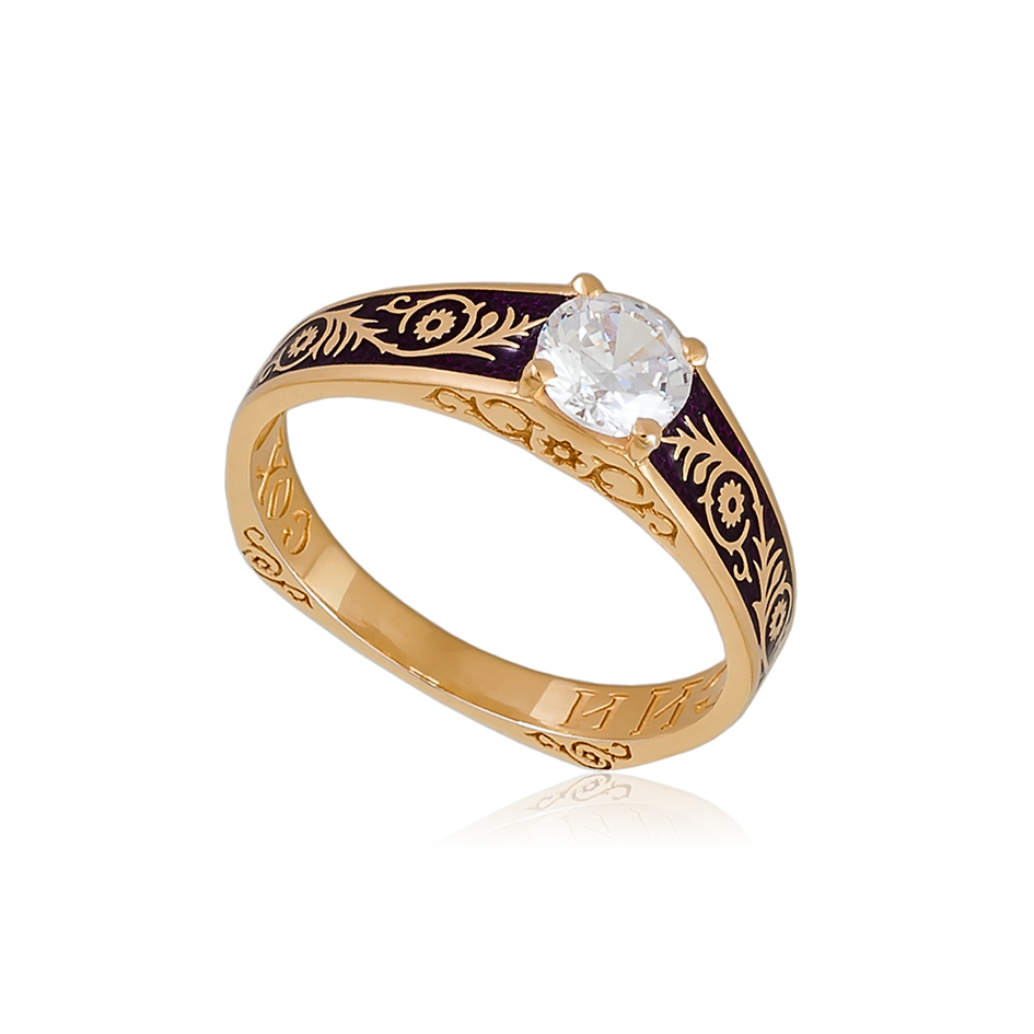 61 125 1z 1 - Перстень серебряный «Спас-на-крови» (золочение), фиолетовый с фианитами