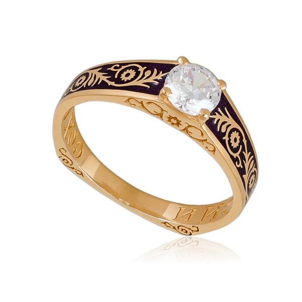 61 125 1z 600x600 - Перстень «Спас-на-крови» (золочение), фиолетовый с фианитами