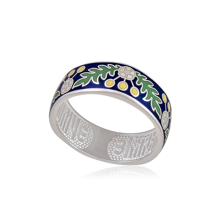 61 126 1s 1 - Кольцо серебряное «Спас-на-крови», синяя