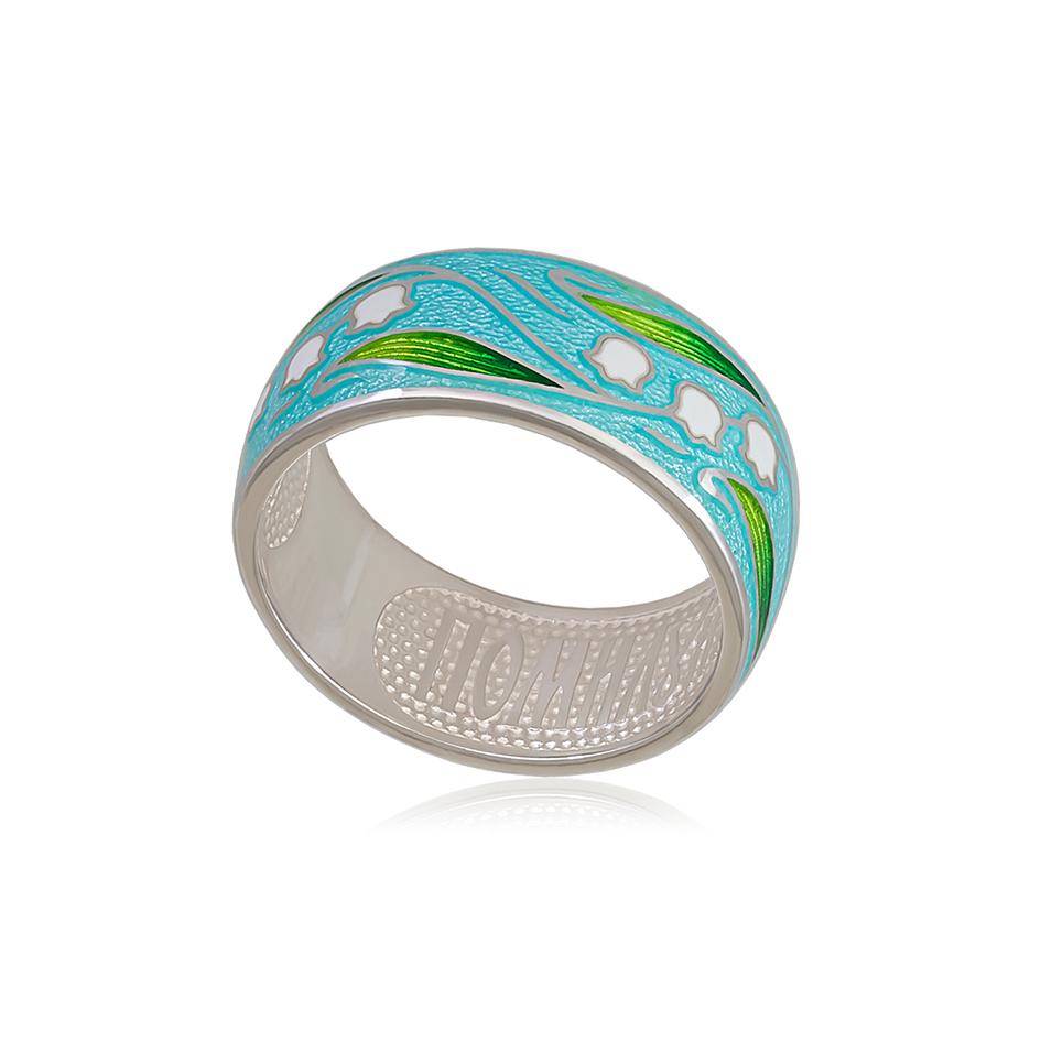 61 134 1s 1 - Кольцо из серебра «Ландыши», голубое