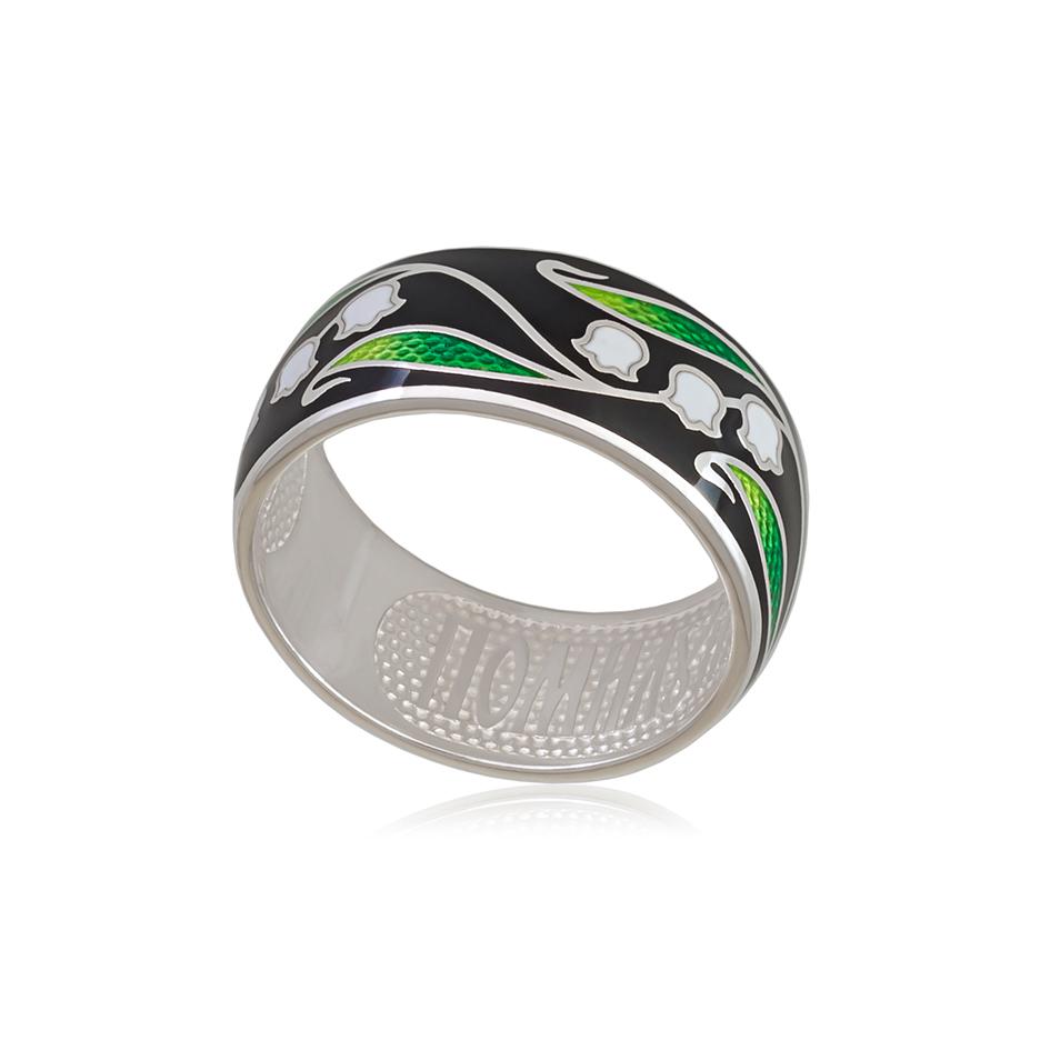 61 134 2s 1 - Кольцо из серебра «Ландыши», черное