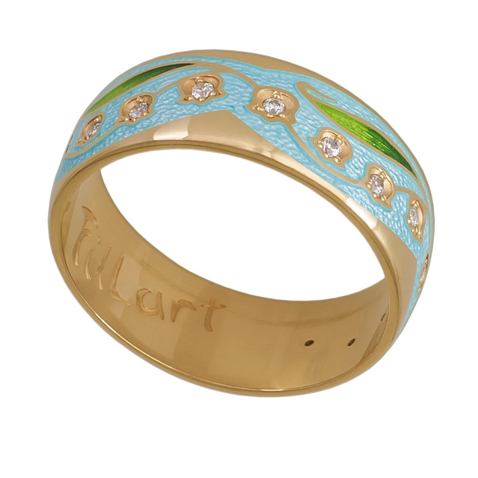 61 135 2z - Кольцо «Ландыши» (золочение), голубая