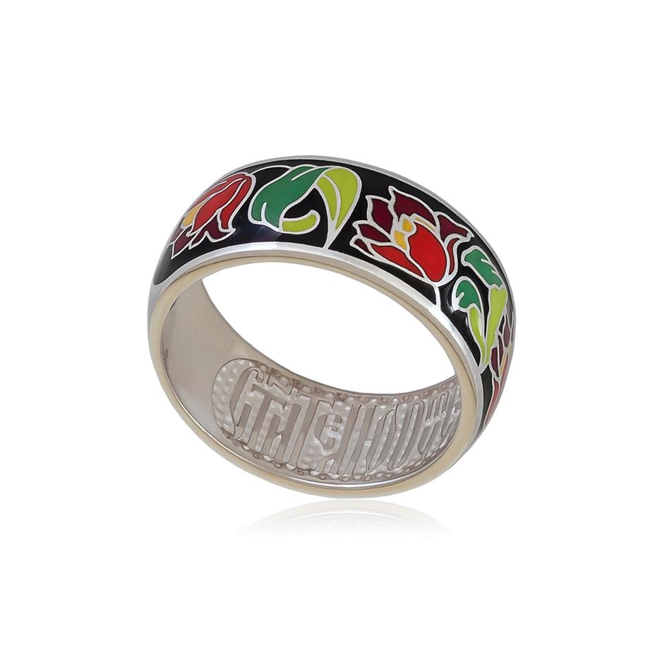 61 136 6s  1 - Кольцо из серебра «Тюльпаны», черное