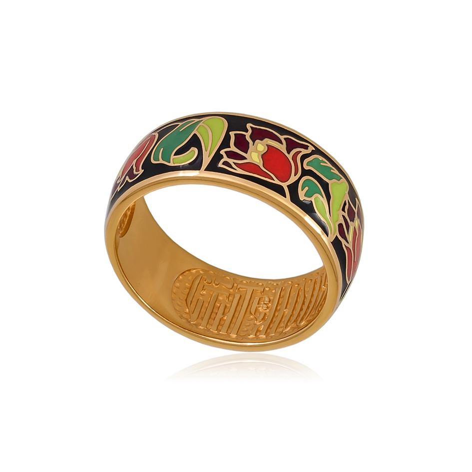 61 136 6z  1 - Кольцо из серебра «Тюльпаны» (золочение), красное