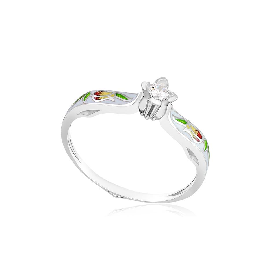 61 138 1s 1 - Перстень серебряный «Примавера», белый с фианитами
