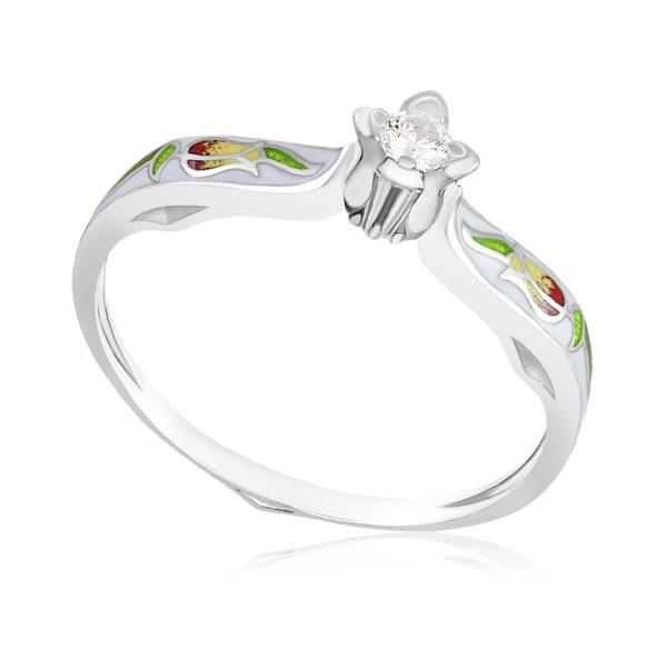 61 138 1s 600x600 - Перстень «Примавера», белый с фианитами