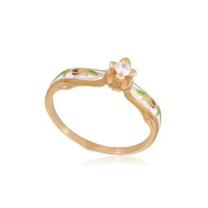 61 138 1z 1 300x300 - Перстень серебряный «Примавера» (золочение), белое с фианитами