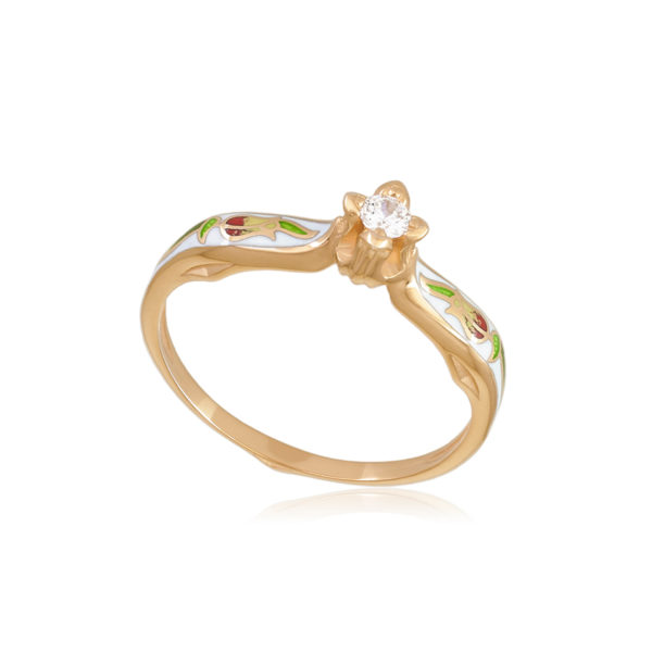 61 138 1z 1 600x600 - Перстень серебряный «Примавера» (золочение), белое с фианитами