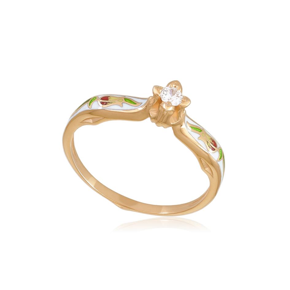 61 138 1z 1 - Перстень серебряный «Примавера» (золочение), белое с фианитами