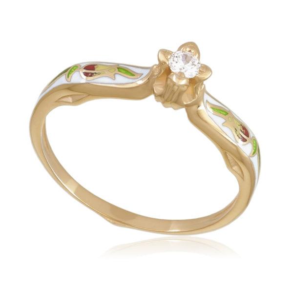 61 138 1z 600x600 - Перстень «Примавера» (золочение), белое с фианитами